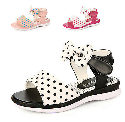 Sweet Kids Girl Ankle Strap Princess Dot Sandals Soft Leather No-Slip Flat Shoes