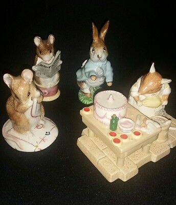 3 beatrix potter figures and 1 brambly hedge with damage.. beswick etc
