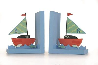 Childrens Bookends Boat Design Metal & Wood Set Colouful 12 X 20Cm Be-Boat