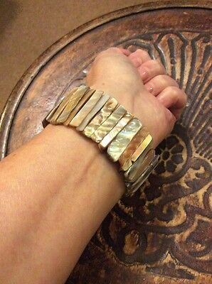 Real Mother Of Pearl Stretch Cuff Bracelet