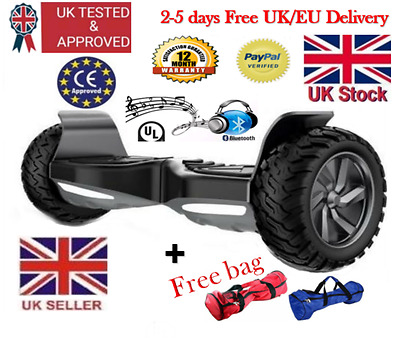 "Smart Electric Hoverboard 9"" Bluetooth+Music 2 wheel Off-Road,free bag,rrp£700"