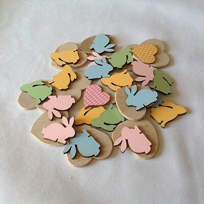 Wooden heart and Bunny shapes for crafting x 33