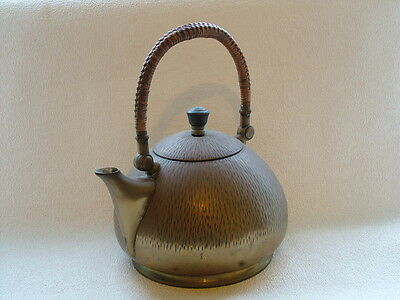 Rare early Arts & Crafts brass electric kettle.