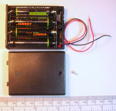 Battery holder for 4 X 'AAA' (UM-4) cell - with leads - hard case - unswitched