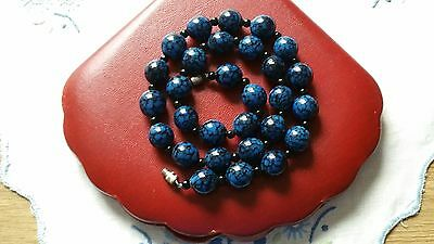 Vintage Royal Blue And Black Glass Murano Bead Necklace