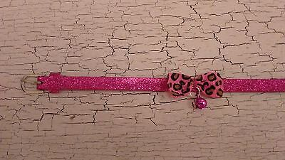 hand crafted deep pink glitter kitten collar with animal print bow