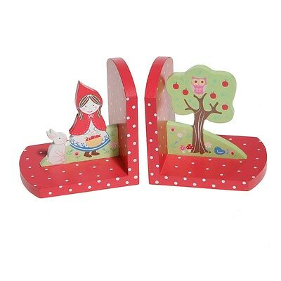 Childrens Bookends Red Riding Hood Wood Set Colouful Bookshelf 13 X 24 Be-Riding