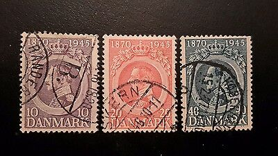 Denmark ~ King Christian  75th Birthday Stamps 1945 Good used