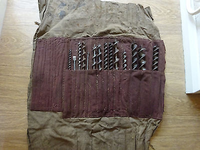 Job lot of 14 x auger / drill bits in cloth tool roll - Old hand tools