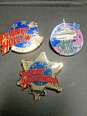 Set of 3 Planet Hollywood Pins from Dallas, Phoenix & Seattle