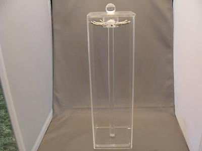 "Acrylic LUCITE NECKLACE Holder 13"" Tall 12 Hangers Round Knob Handle XLNT Cond."