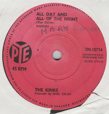 Kinks All day and all of the night Pye 7N.15714 VG+ name on label