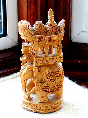 Unique  Wooden Appearance Carved Elephant Ornament