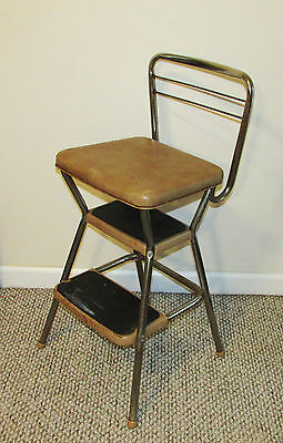 Vintage Cosco Fold-Out Kitchen Step Stool Chair Retro Mid Century