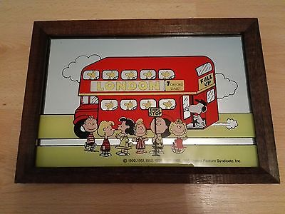 Vintage Snoopy and friends 'Red London Bus' mirror, 1966.