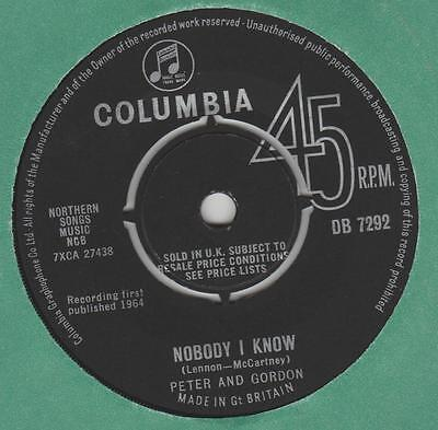 Peter and Gordon Nobody I know Columbia DB 7292 EX- Lennon McCartney