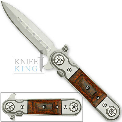 Gentle mansTactical CLASSIC Italian Style Spring Assisted Knife WOOD GRIPS Sharp