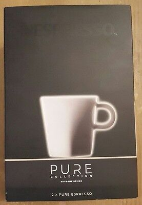 Nespresso x 2 Pure Espresso cups with saucers (NEW & BOXED)