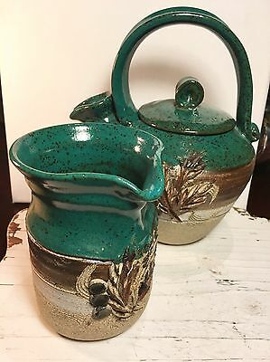 Vintage Pottery Teapot And Creamer