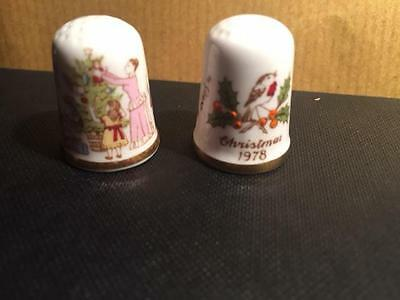 Quality Handpainted Signed Bone China Thimbles Christmas 1978 And 1982