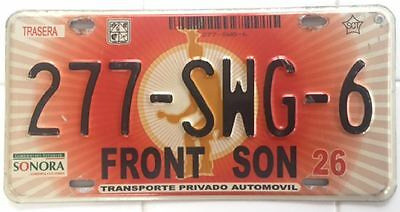 2000s SONORA MEXICO FRONT SON LICENSE PLATE [277-SWG-6]