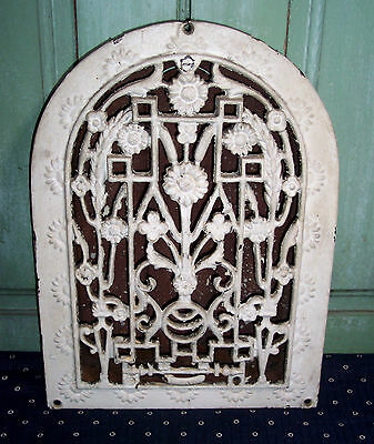 Vintage Cast Iron Gothic Arch Floor Grate Register Louvers White Chippy Paint