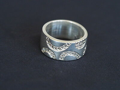 Sterling Silver Stone Set Heavy Weight Ring, Size Q