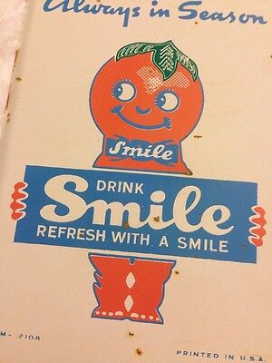 Vtg 1930s Drink Smile Beverages Orange Soda Metal Door Push Display Sign Rare