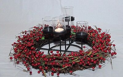 Berry Garland Wreath with 5 Candle Center