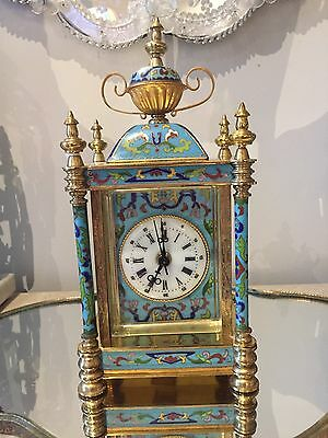 French-Style Champleve Cloisonne Carriage Clock Side Female Portraits Working