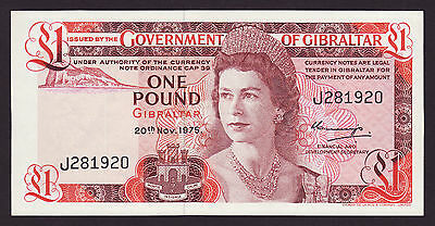 GIBRALTAR  -  1 pounds,1975  -  first issue  -  P 35  -  UNC