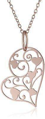 """Rose Gold Plated Sterling Silver Heart Filigree Pendant Necklace, 18"""" (NEW)"""