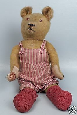 "Antique Humpback Mohair 21"" Jointed Golden Teddy Bear W Growler - Estate Find VR"