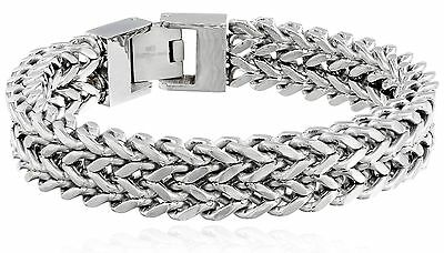 """Men's Stainless Steel Two-Strand Wheat Chain Bracelet, 8.5"""" FREE SHIPPING"""