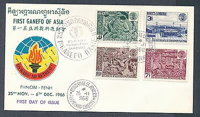 Cambodia 1966 GANEFO Games Anghor Wat Bas-reliefs set cachet unaddressed FDC
