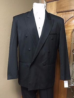 Black Suit Jacket 42R Double Coat Formal Steampunk Dance Cosplay Prom Wedding
