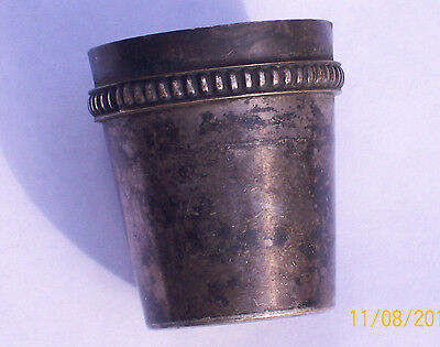 Small vintage silver cup jigger julip shot glass makers mark PD heart