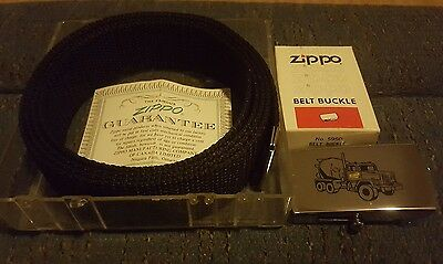 Zippo Belt Buckle With Box And Belt Cement Mixer  Never Used