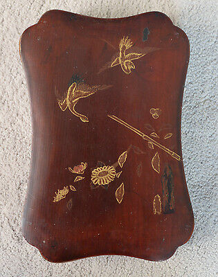 Vintage Japanese Wooden Box w/ Gold Design Birds Flowers Lacquer Interior Brown