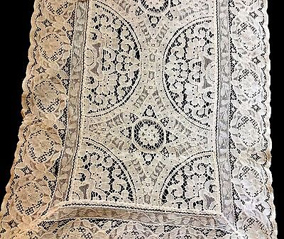 Gorgeous Old Belgian Brussels Lace Runner Embroidery on the Net Floral Design