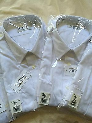 "New Van Heusen Size 17.5 ""Aviator"" Pilot Shirts Men's Short Sleeve"
