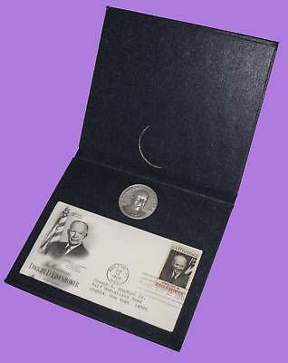Eisenhower First Day Issue & Large 3D Sterling Silver Medal (41.2 Grams 40mm)