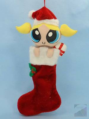 "Powerpuff Girls Bubbles Plush 19"" Christmas Stocking Toy Sparkly Red RARE EXC"