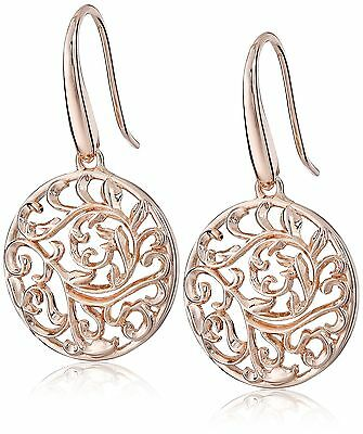 18K Rose Gold Plated Sterling Silver Filigree Dangle Earrings FREE SHIPPING