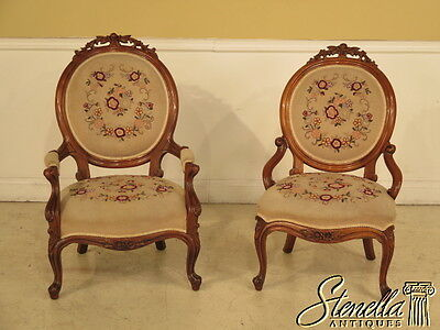 39493E: Pair Antique Victorian Walnut Needlepoint Parlor Chairs