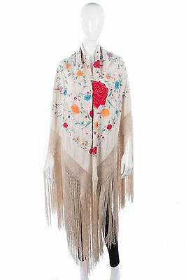 Vintage 1930's piano shawl with amazing coloured embroidery and deep fringe.
