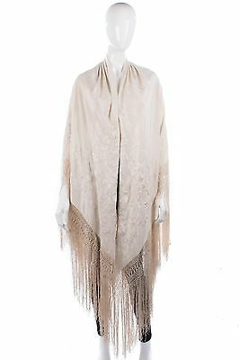 Cream silk embroidered piano shawl with deep fringe 1920's