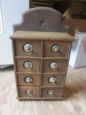 Antique Primitive Spice Cabinet Wood 8 Drawer Hanging or Counter Tin plate knobs