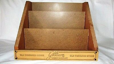 Vtg Gilliam Candy Co Old Fashioned Stick Wood Display Case  Store Advertising