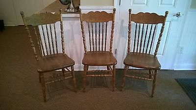 (3) 1900 Antique SOLID Oak Pressback Kitchen Dining Chairs REFINISHED Plank Seat
